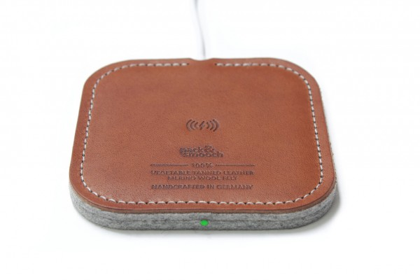 Wireless Charger made of light brown leather
