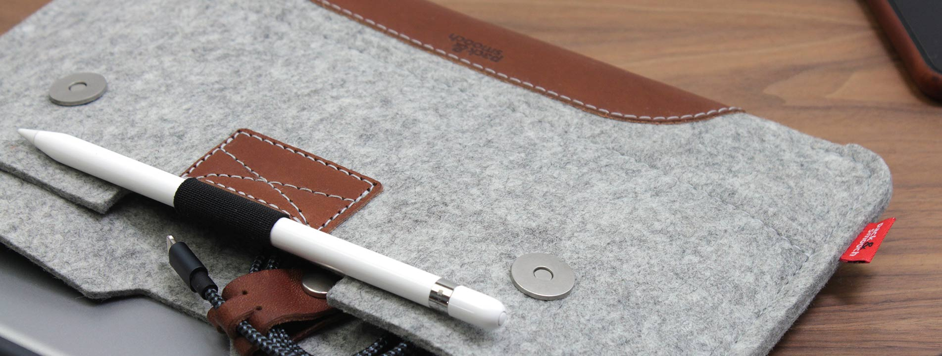 iPad Pro sleeves handcrafted by Pack & Smooch of Merino wool felt and genuine leather