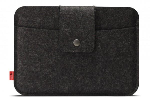 iPad Air2 sleeve iPad Hülle Lleyn Vordertasche dunkelgrauer Merino-Wollfilz