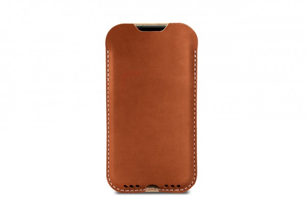 Light brown leather sleeve for iPhone