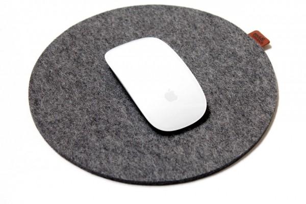 Mousepad 21 cm aus Merino Wollfilz mit Naturkautschuk Antirutsch Beschichtung