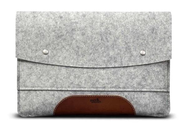Macbook-Tasche-Filz-Leder-Laptop-Huelle-Grau