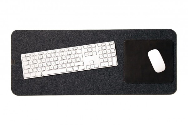 Schreibtischunterlage Leder und Wollfilz in dunkelgrau