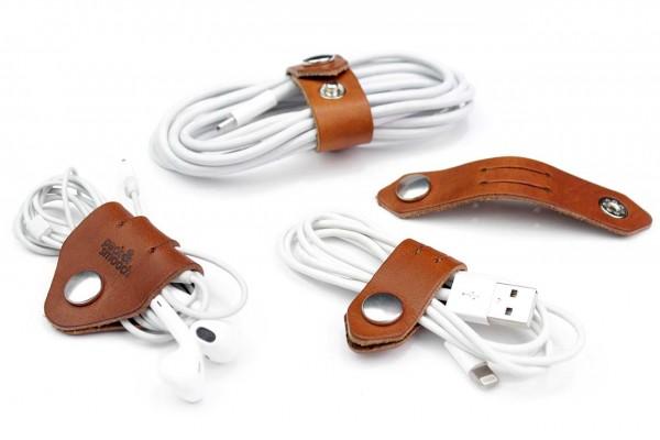 iPad Pro Kabelbinder Set aus hell braunem Italienischem Leder handmade