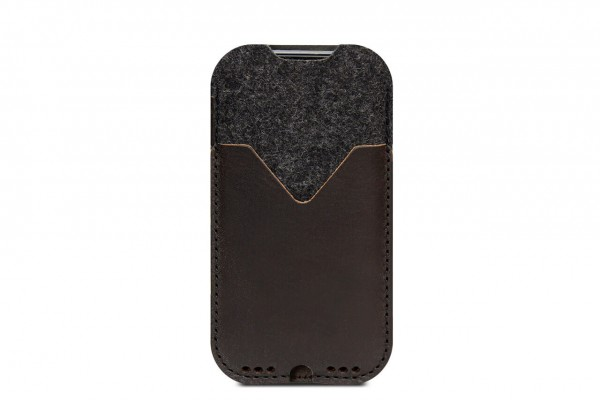 iPhone Hülle Kirkby aus dunkelbraunem Leder