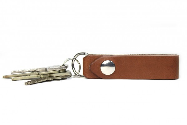 Leather key ring with name and gift box