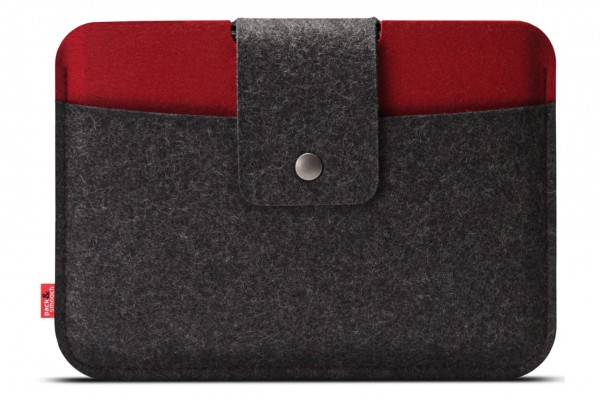 iPad Pro 9.7 case Lleyn handcrafted of Merino wool felt dark-grey red