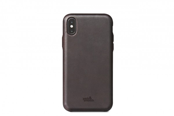 iPhone XS leather case, backcover italian leather dark brown