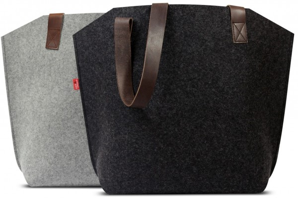 Shopper and shopping bag handmade of high class Merino wool felt and Italian leather