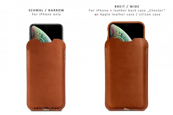 Hellbraune Leder-Hülle fürs iPhone mit oder ohne Case