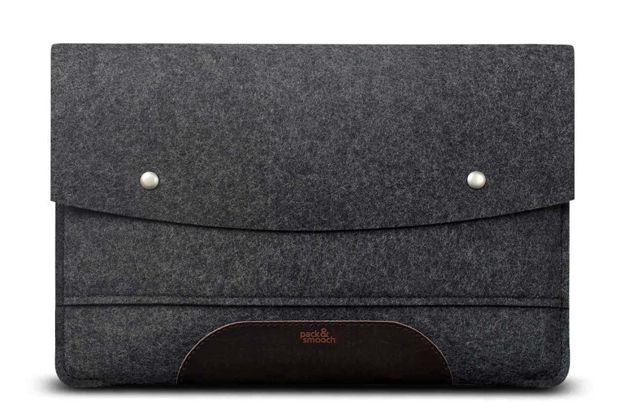 macbook filz h lle mit leder f r macbook pro 13 15 und 12. Black Bedroom Furniture Sets. Home Design Ideas