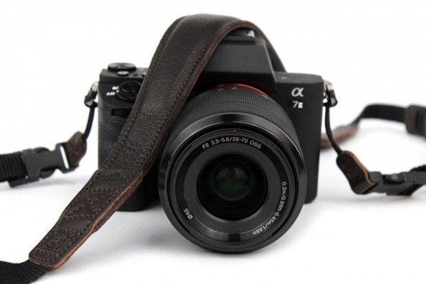 DSLR camera strap with natural rubber padding and quick-release dark brown nappa leather